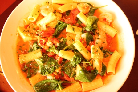 Rigatoni with spinach